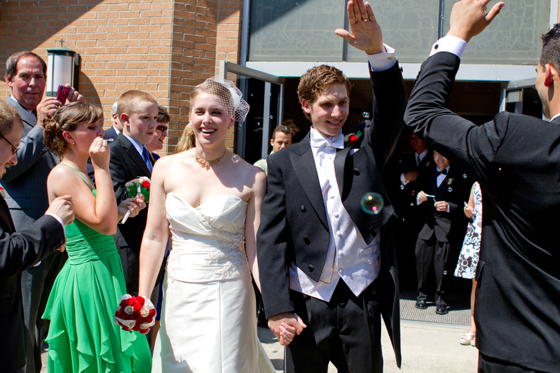 bride and groom leave church butler nj butler united methodist church