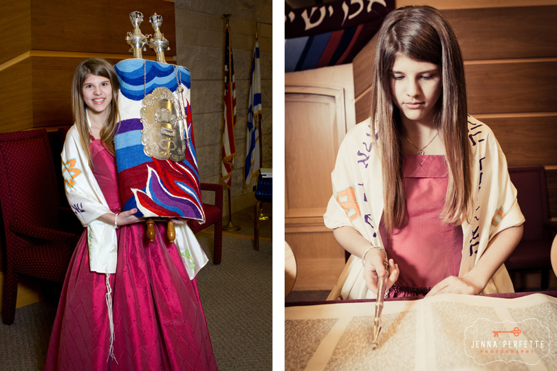 Temple Beth-el Hillsborough, NJ Bat Mitzvah Bridgewater New Jersey reading torah holding torah on beema