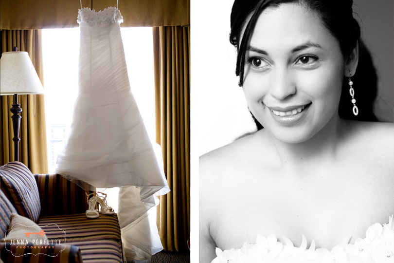 wedding dress hanging black and white bride