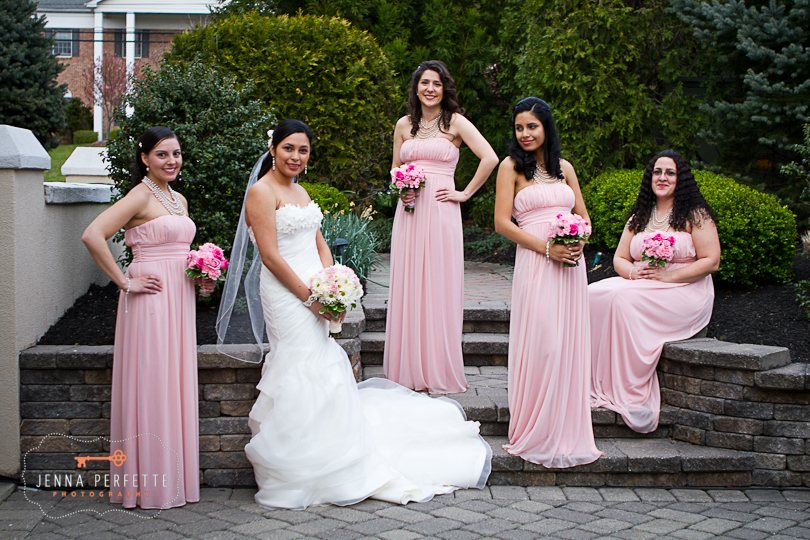 bridal party pink dresses with pearl beading david's bridal