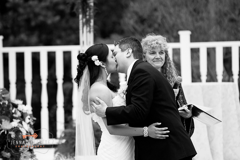 you may now kiss the bride black and white wedding photos