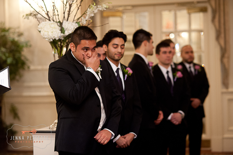 groom emotional as bride walks down aisle somerville wedding photographer - meadow wood manor nj wedding