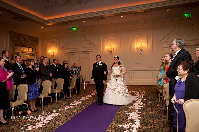 bride walks down aisle with dad somerville wedding photographer - meadow wood manor nj wedding