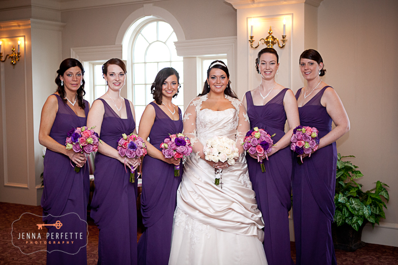 bridesmaids in violet purple dresses davids bridal somerville wedding photographer - meadow wood manor nj wedding