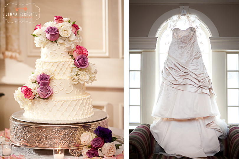 wedding dress cake with pink and purple flowers somerville wedding photographer - meadow wood manor nj wedding