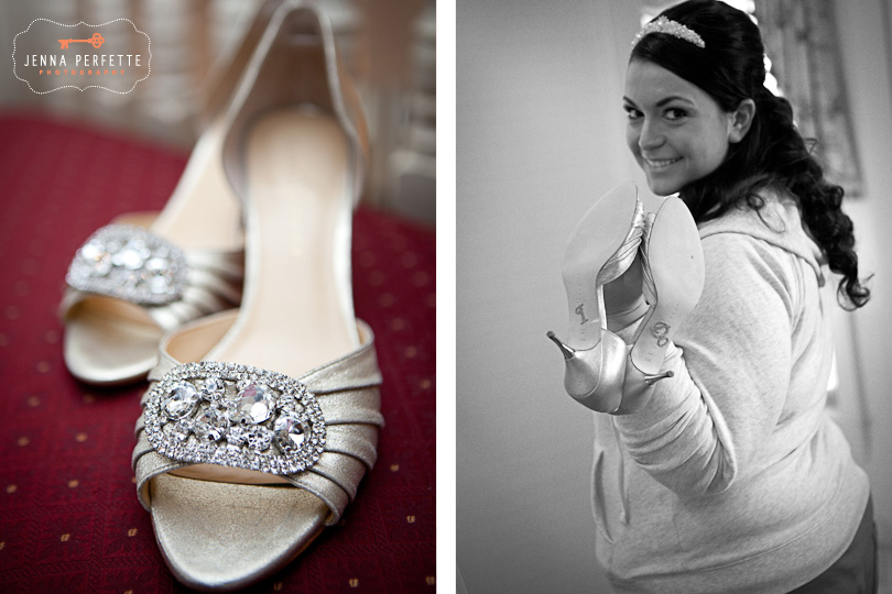 brides shoes somerville wedding photographer - meadow wood manor nj wedding