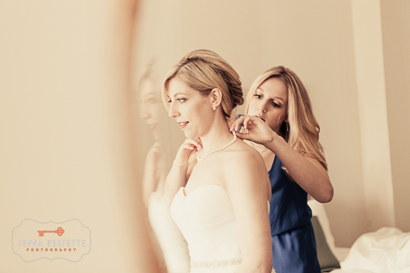 brooklyn botanical gardens wedding - bride getting dressed nj wedding photographer