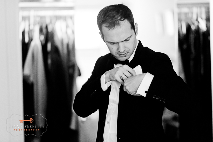 brooklyn botanical gardens wedding - groom getting dressed nj wedding photographer