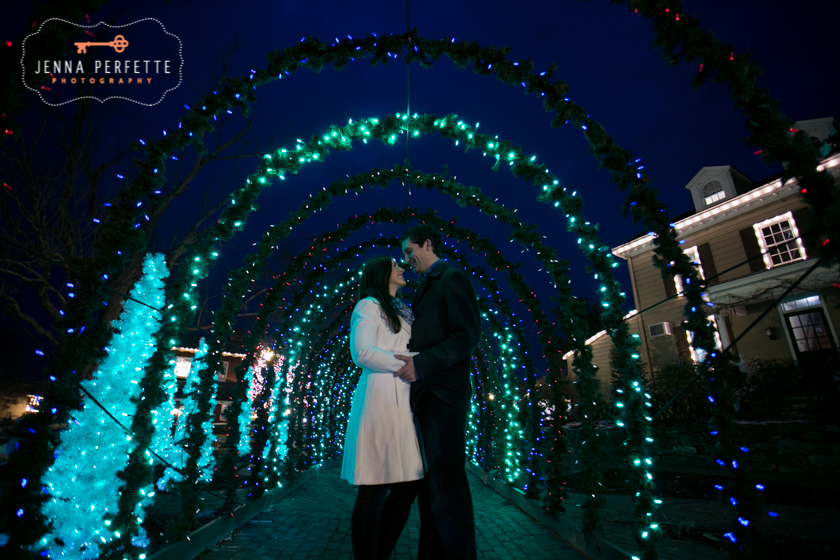 modern fun engagement photos somerville new jersey - winter holiday christmas peddlers village engagement session