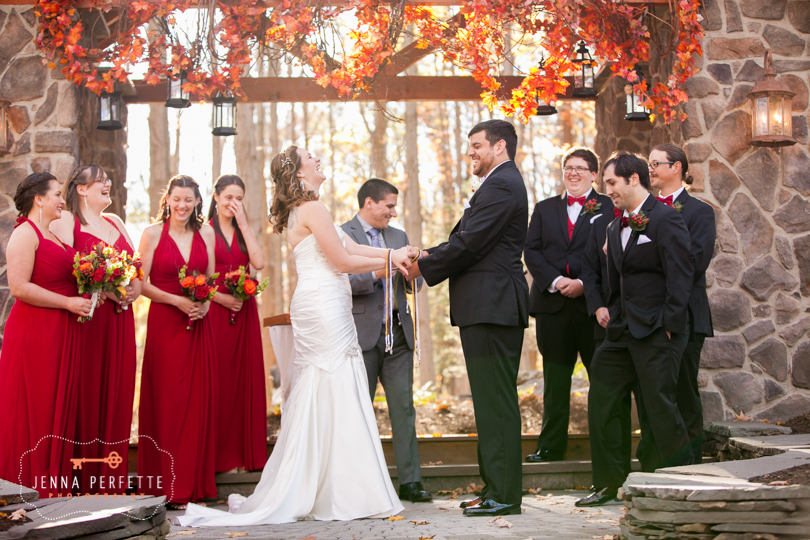 Rustic Pennsylvania Wedding - fall foliage outdoor wedding fall colors forest stroudsmoor pa outdoor red apples fall theme outdoor ceremony photography in woods r