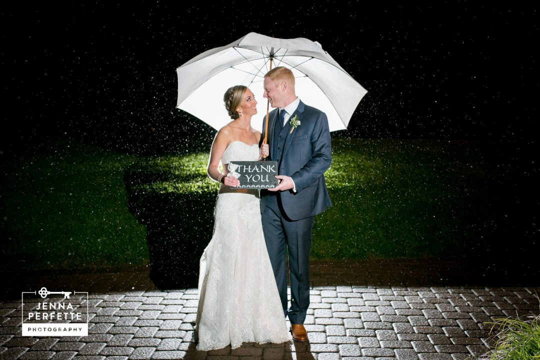 wedding day rain umbrella night portrait