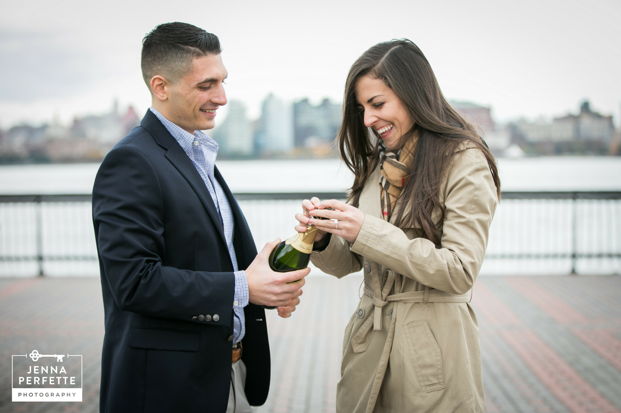 Champagne Toast Hoboken Waterfront Proposal Photos Best New Jersey Photographer