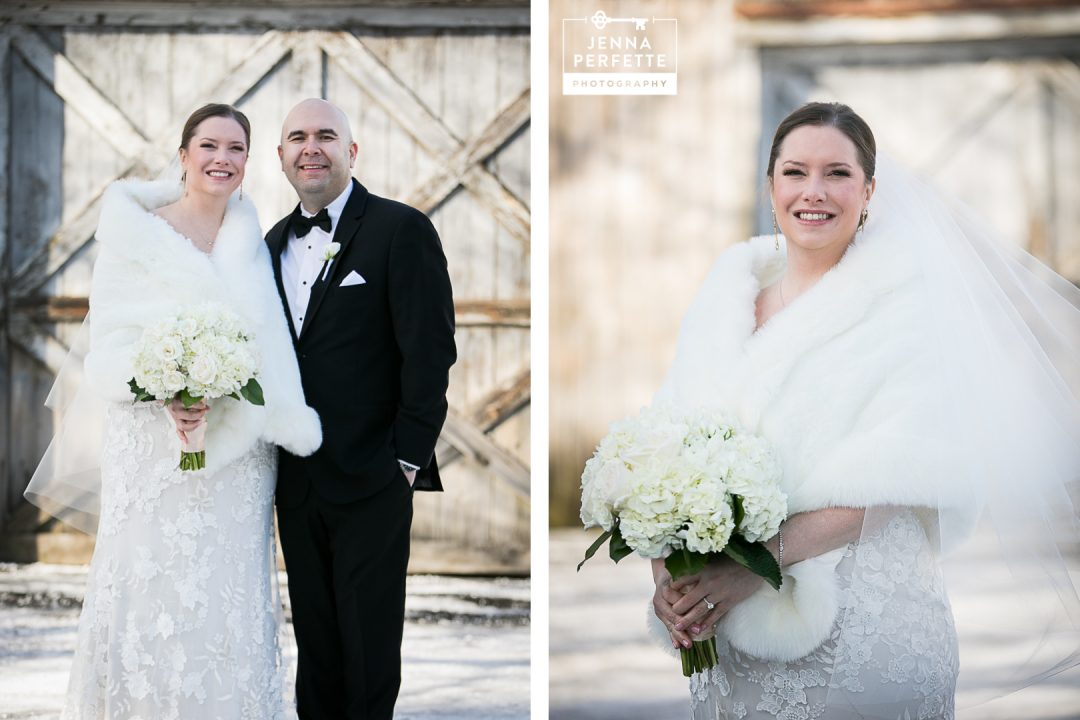 outdoor winter wedding portraits