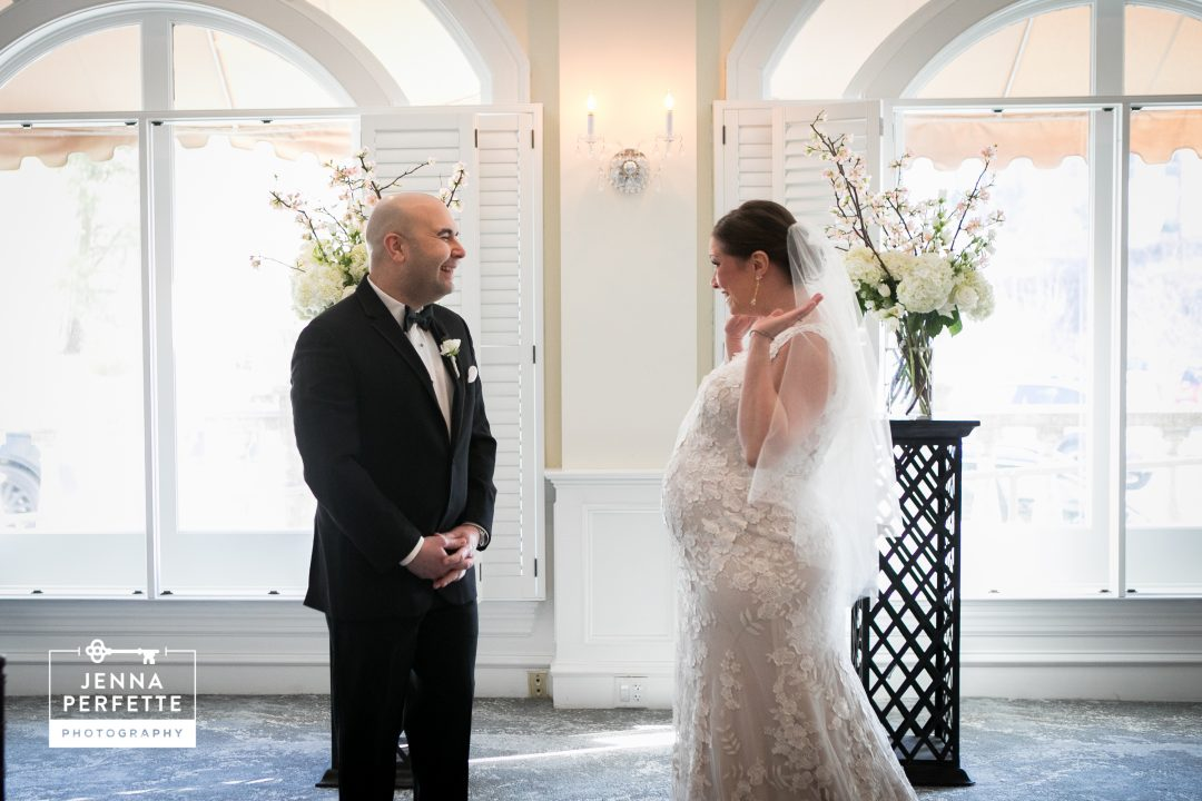 NJ wedding first look indoor wedding