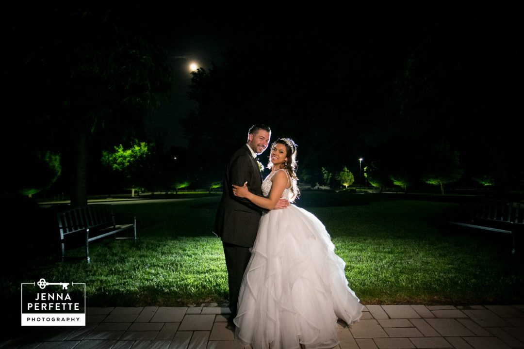 Bride and Groom with Full Moon in Background