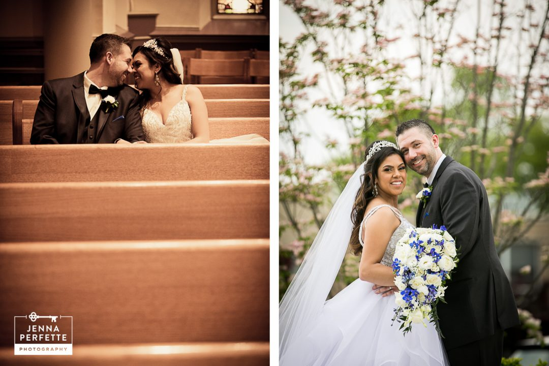 Bride and Groom Sitting In a Church Pew and Standing Outside in Nature