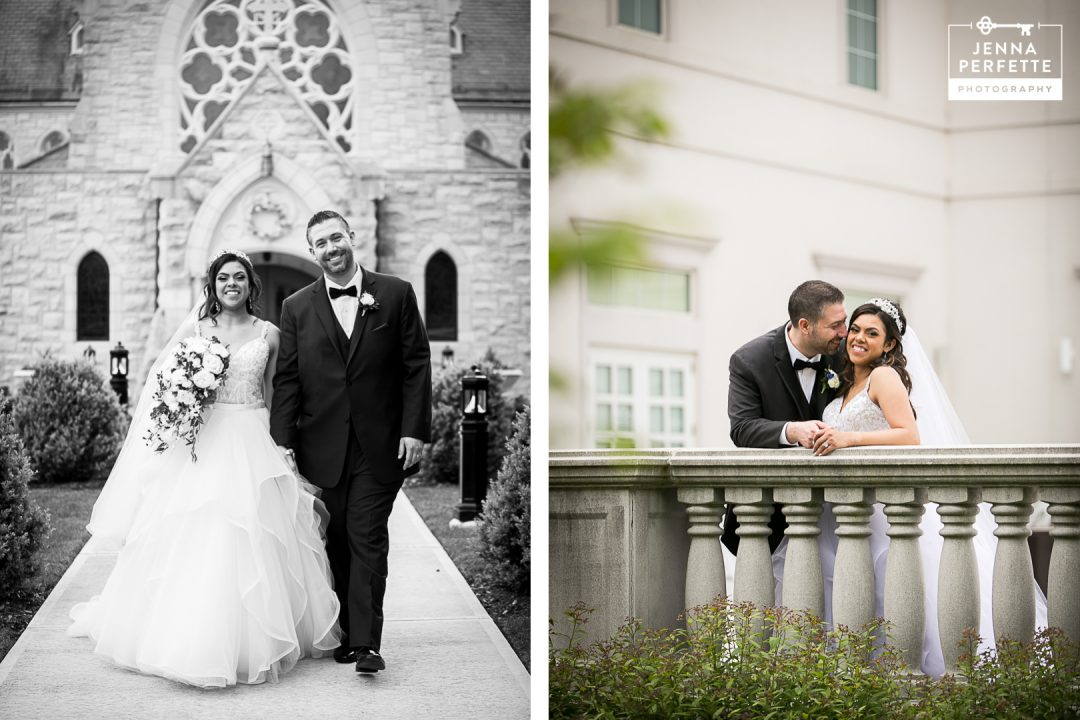 Bride and Groom Outside of Church in Black and White and Outside of Reception Hall