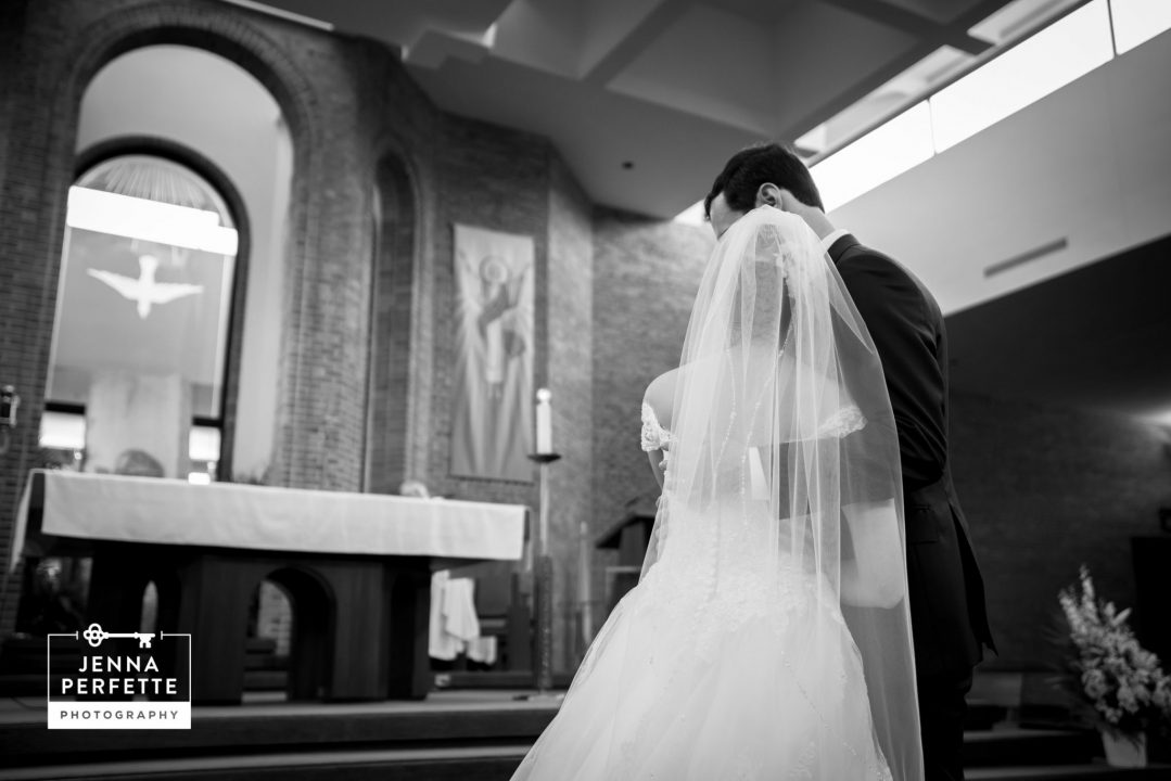 Bride and Groom at Altar A Rutgers Love Story Wedding